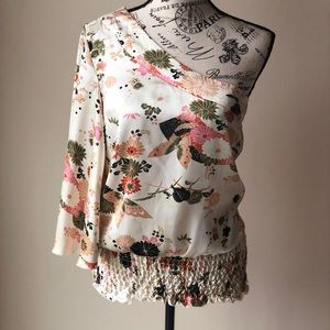 Beautiful one shoulder floral blouse